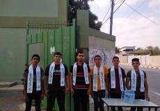 الكتلة الإسلامية في محلية النصيرات الشمالية تستقبل طلاب الثانوية العامة في أول أيام الاختبارات النهائية