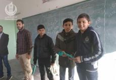 تنظيم مسابقة ميدانية على فصول مدرسة سخنين الإعدادية شمال غزة  وتوزيع هدايا