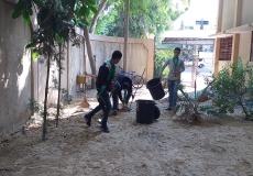 الحملة التطوعية بمدرسة أبو ذر الغفاري بغرب غزة