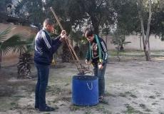 حملة نظافة بمدرسة التقوى غرب غزة بعنوان